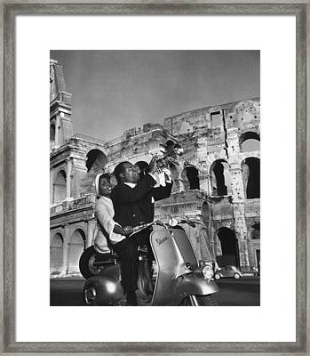 Jazz Scooter Framed Print by Slim Aarons