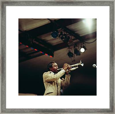 Joe Newman Performs On Stage At Newport Framed Print by David Redfern