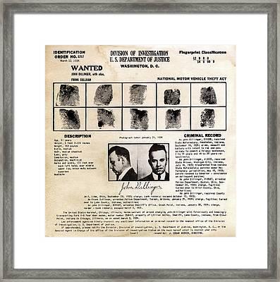 John Dillinger Fingerprint Classification Card 1934 Framed Print