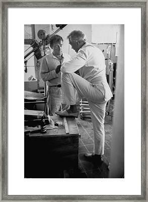 John Hustonrichard Burton Framed Print by Gjon Mili