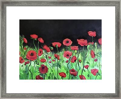 Jon's Poppies Framed Print