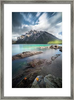 Framed Print featuring the photograph Kaleidoscope Of Fall Color / Lake Minnewanka, Alberta, Canada by Nicholas Parker
