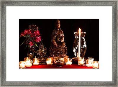 Framed Print featuring the photograph Kanzeon Bosatsu - Zen Altar by Lita Kelley