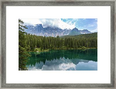 Framed Print featuring the photograph Karersee And Latemar by Andreas Levi