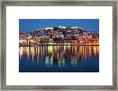 Kavala Town At Night Framed Print