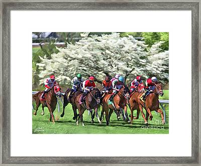 Keeneland Down The Stretch Framed Print