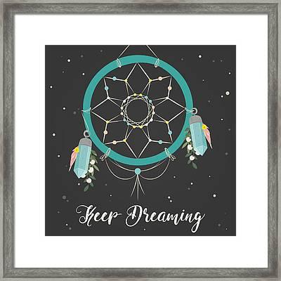 Keep Dreaming - Boho Chic Ethnic Nursery Art Poster Print Framed Print