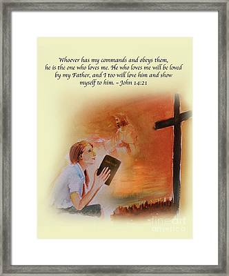 Keeps My Commandments Framed Print