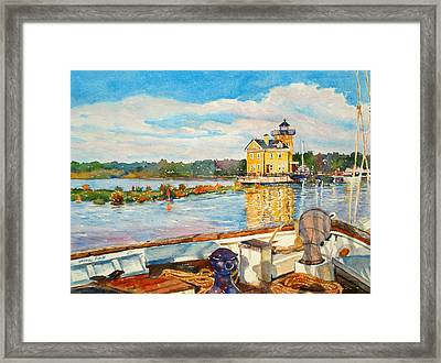Kingston Lighthouse From The Sloop Clearwater Framed Print by Mira Fink