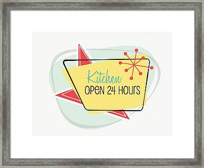 Framed Print featuring the digital art Kitchen Open 24 Hours- Art By Linda Woods by Linda Woods