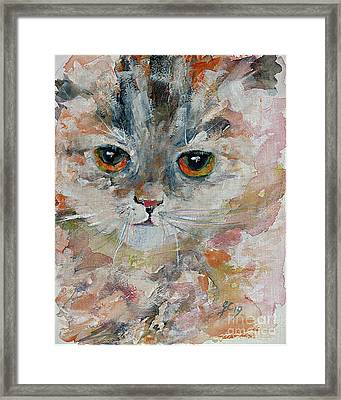 Framed Print featuring the painting Kitten Portrait by Ginette Callaway
