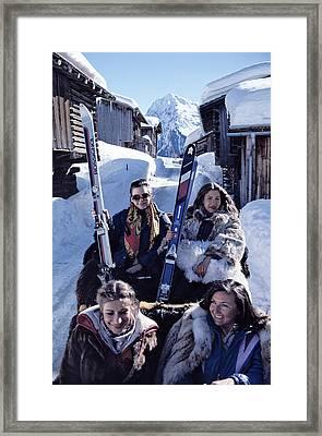 Klosters Skiing Framed Print by Slim Aarons
