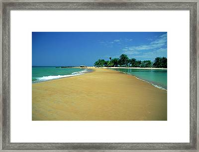 La Baie Des Sirenes Beach At Grand Framed Print by Myloupe/uig