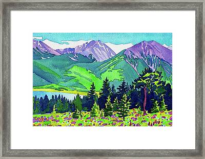Framed Print featuring the painting La Plata Peak by Dan Miller