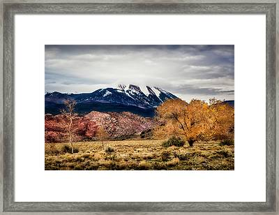 Framed Print featuring the photograph La Sal Mountain Range by David Morefield