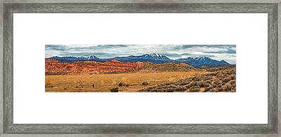 Framed Print featuring the photograph La Sal Mountains by Andy Crawford
