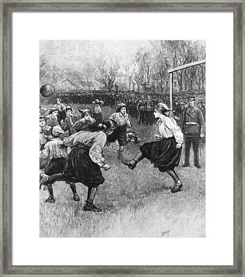 Ladies Football Framed Print by Rischgitz