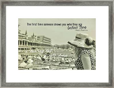 Lady Of The Derby Quote Framed Print by JAMART Photography