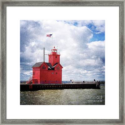 Lake Michigan Light House Framed Print