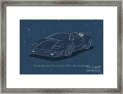 Lamborghini Countach 25th Anniversary - Front View - Stained Blu Framed Print
