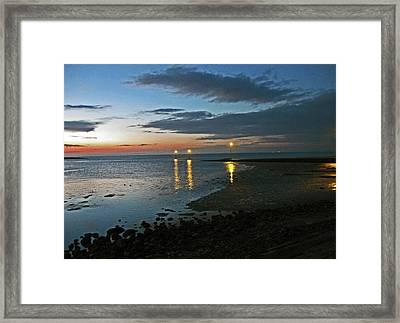 Lancashire. Knott End. Sunset.. Framed Print