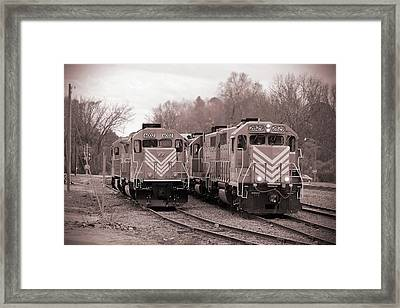 Framed Print featuring the photograph Lancaster Chester Railroad 2829 B W 1 by Joseph C Hinson Photography