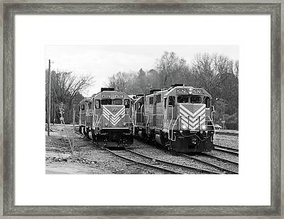 Framed Print featuring the photograph Lancaster Chester Railroad 2829 B W 2 by Joseph C Hinson Photography