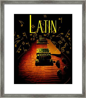 Framed Print featuring the digital art Latin Guitar Music Notes by Guitar Wacky