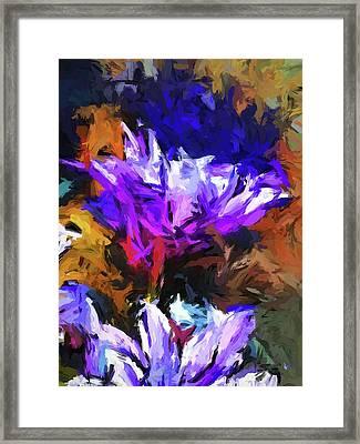 Lavender Flower And The Cobalt Blue Reflection Framed Print