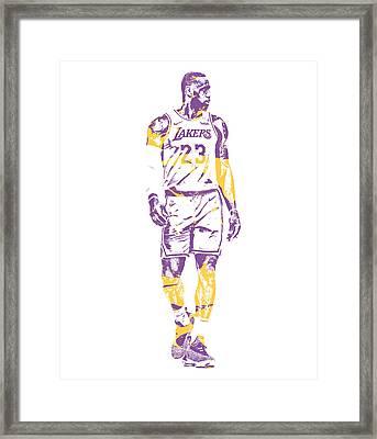 Lebron James Los Angeles Lakers Pixel Art 4 Framed Print