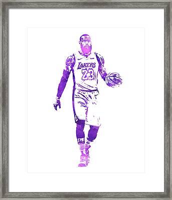 Lebron James Los Angeles Lakers Water Color Pixel Art 1 Framed Print