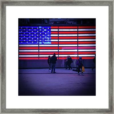 Led American Flag Framed Print