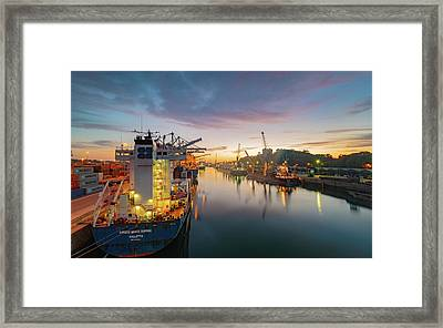 Framed Print featuring the photograph Leixoes Harbour by Bruno Rosa