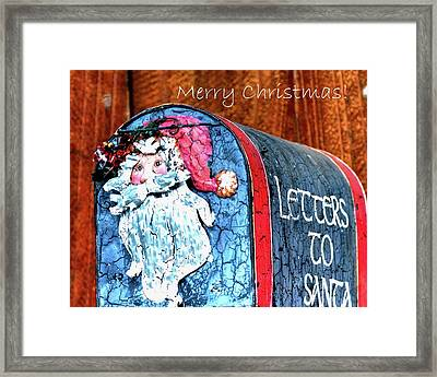 Framed Print featuring the photograph Letters To Santa Greeting by Jerry Sodorff