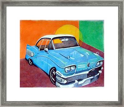 Light Blue 1950s Car  Framed Print
