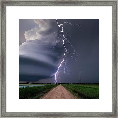 Lightning Bolt From A Super-cell Framed Print by John Finney Photography