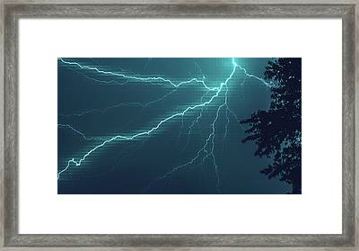 Lightning Grid Framed Print