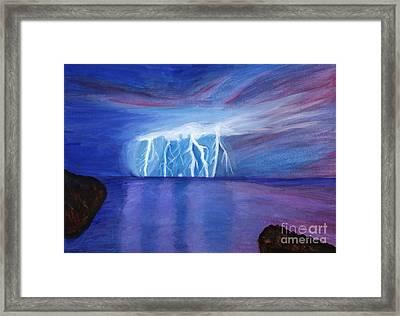 Lightning On The Sea At Night Framed Print