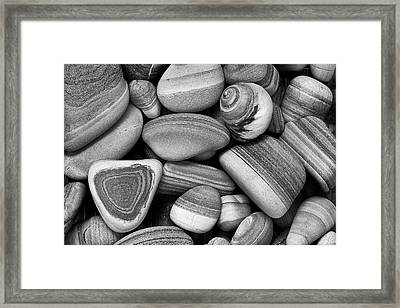 Framed Print featuring the photograph Lined Rocks And Shell by John Rodrigues
