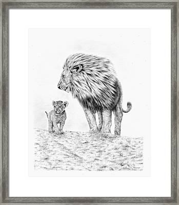 Lion And Cub Framed Print
