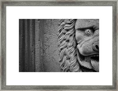 Lion Statue Portrait Framed Print