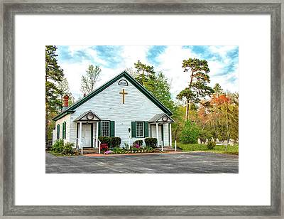 Framed Print featuring the photograph Little Church In The Pines by Kristia Adams