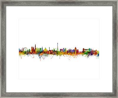 London, Paris And Rome Skylines Framed Print