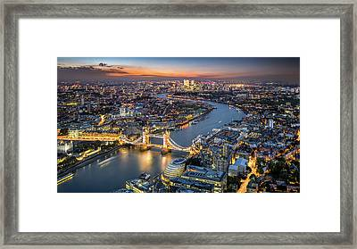 London Skyline With Tower Bridge At Framed Print by Tangman Photography