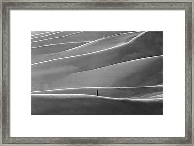 Framed Print featuring the photograph Lone Sand Trekker by Rand