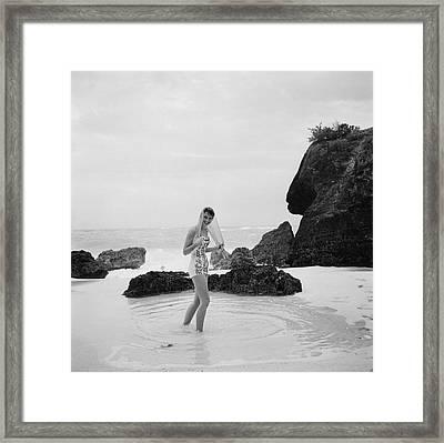 Long Bay Beach Framed Print by Slim Aarons