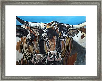Longhorns, Interrupted Framed Print
