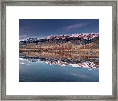 Lost River Range Winter Reflection Framed Print by Leland D Howard