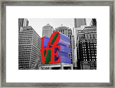 Framed Print featuring the photograph Love In The City - Philadelphia In Black And White With Selective Color by Bill Cannon