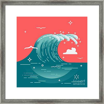 Lovely Vector Background On Large Ocean Framed Print by Mascha Tace